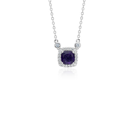 Cushion Amethyst White Topaz Halo Pendant in Sterling Silver (6mm)