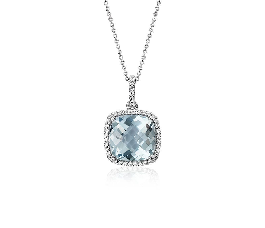 Cushion Cut Aquamarine Pendant with Diamond Halo in 14k White Gold (10.5mm)
