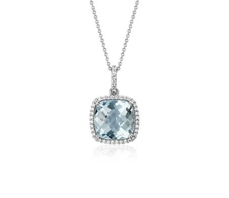 14k 白金 墊形切割海藍寶石吊墜與鑽石光環<br>( 10.5毫米)