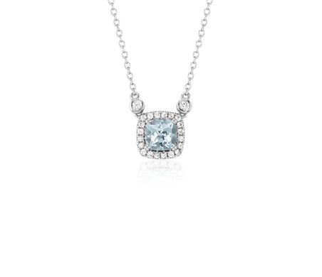 Cushion Aquamarine White Topaz Halo Pendant in Sterling Silver (6mm)
