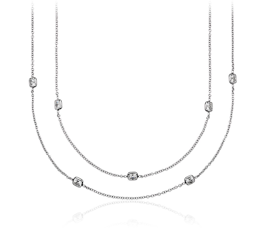 Fancies by the Yard Cushion-Cut Bezel Diamond Necklace in 18k White Gold (7 ct. tw.)