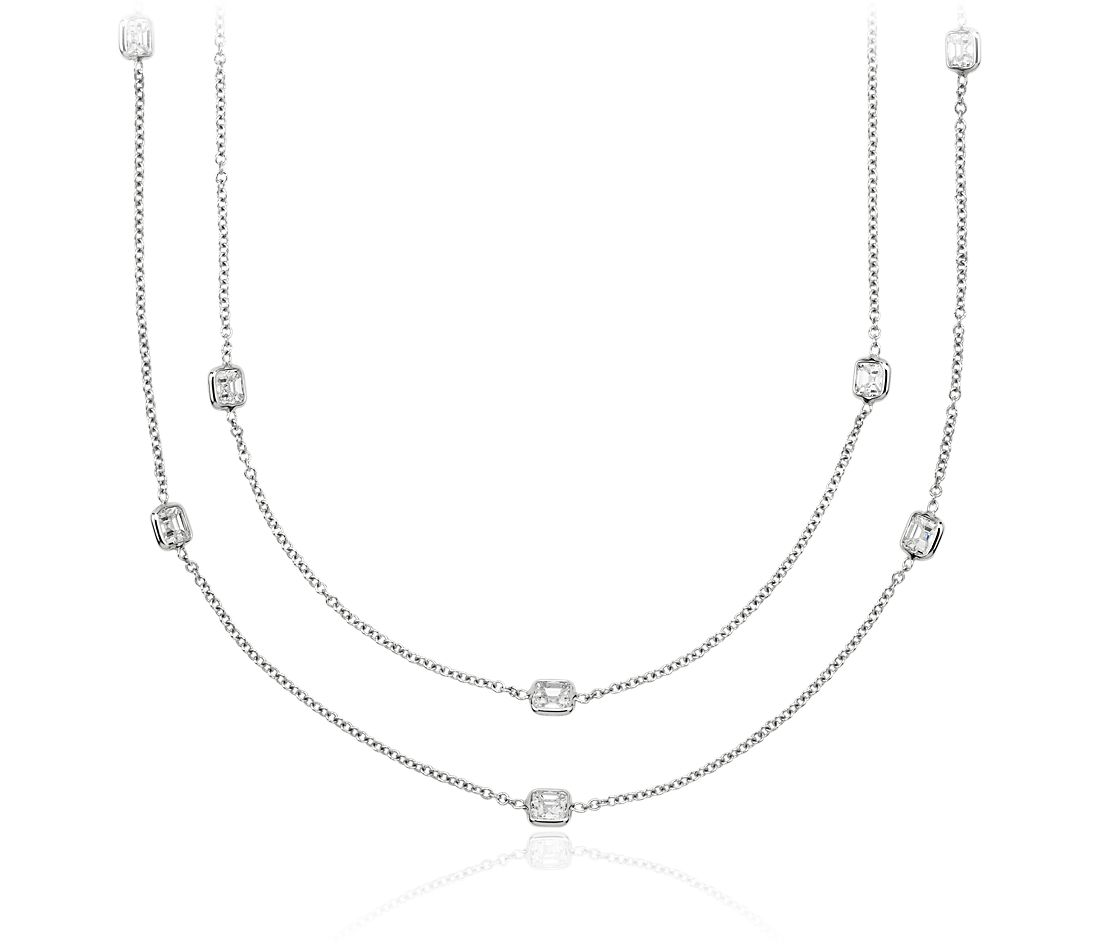 Fancies by the Yard Asscher-Cut Bezel Diamond Necklace in 18k White Gold (7 ct. tw.)