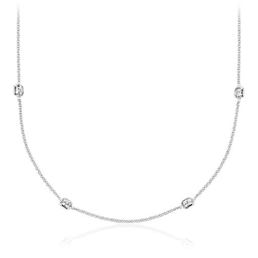 Fancies By The Yard Cushion Cut Bezel Diamond Necklace In