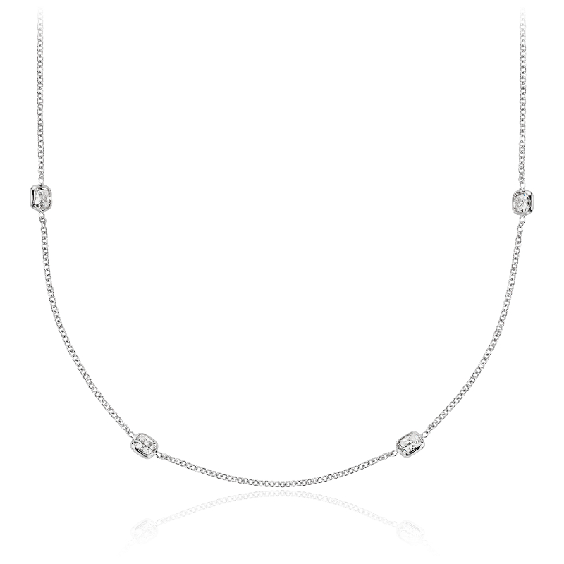Fancies by the Yard Cushion-Cut Bezel Diamond Necklace in 18k Whi