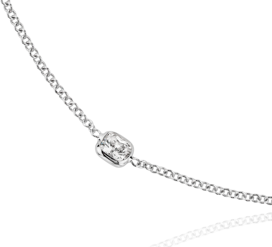 Fantaisies avec le collier en diamants taille coussin Yard en or blanc 18carats (4 1/2carats, poids total)