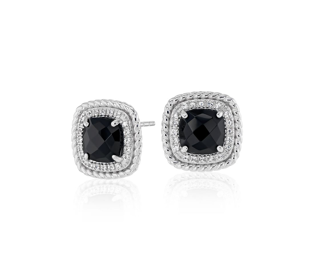 Corda Cushion-Cut Black Onyx Halo Earrings in Sterling Silver (8mm)