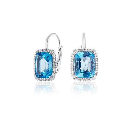 Cushion-Cut Swiss Blue Topaz and Diamond Halo Huggie Hoop Earrings in 14k White Gold (10x8mm)