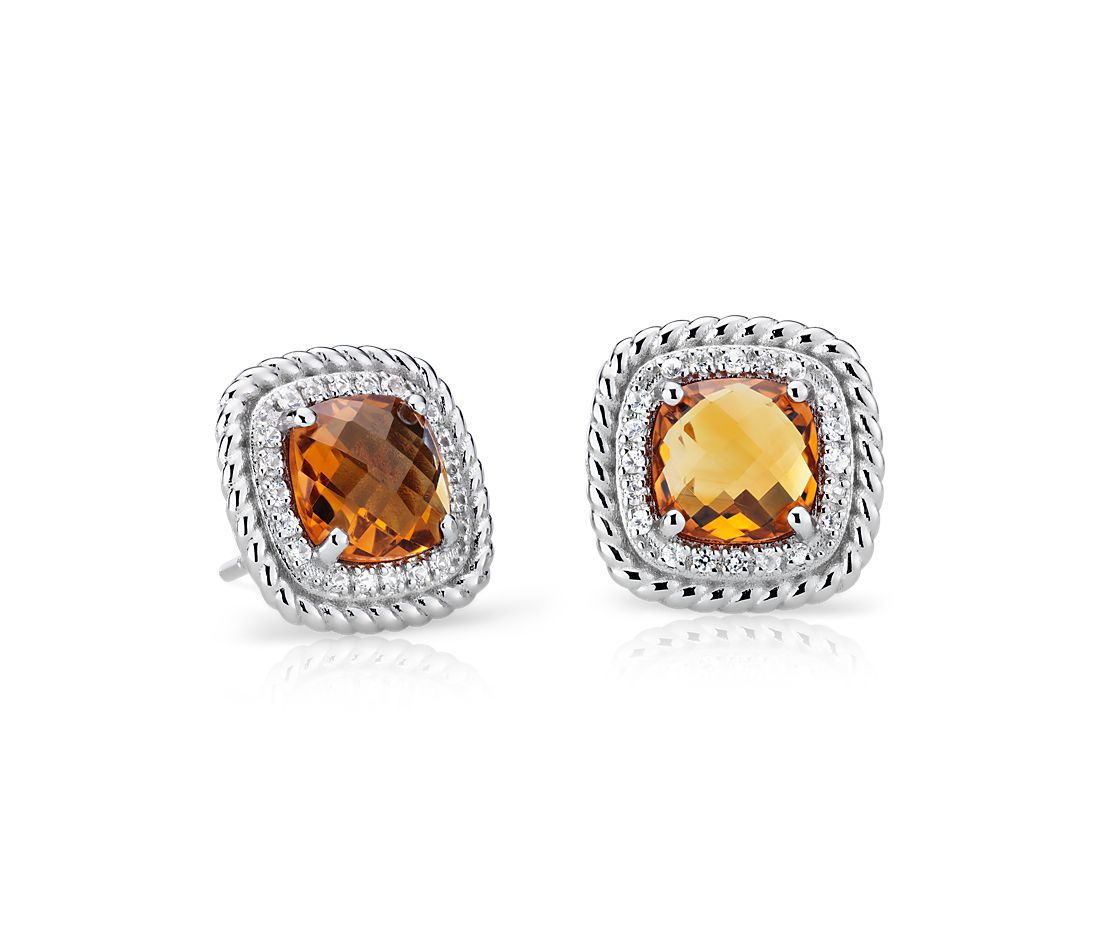 Corda Cushion-Cut Citrine Halo Earrings in Sterling Silver (8mm)