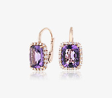 Cushion-Cut Amethyst and Diamond Halo Huggie Hoop Earrings in 14k Rose Gold (10x8mm)