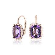 14k 玫瑰金枕形切割紫水晶与钻石光环开合式耳环<br>(10x8毫米)