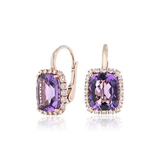 Cushion Cut Amethyst And Diamond Halo Huggie Hoop Earrings In 14k Rose Gold 10x8mm