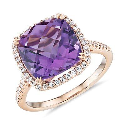 14k 玫瑰金垫形切割紫水晶钻石光环鸡尾酒戒指(10.5毫米)