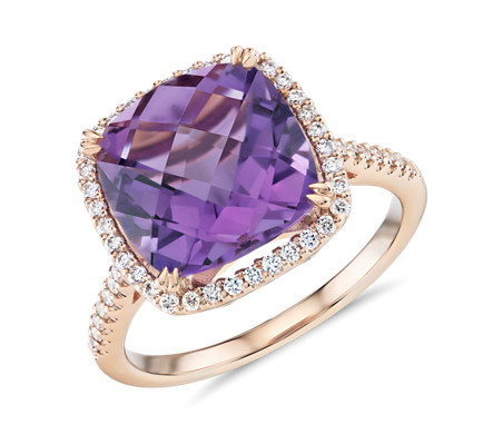 birthstone gold amathyst rings ring purple carat amethyst handmade engagement stone diamond white three