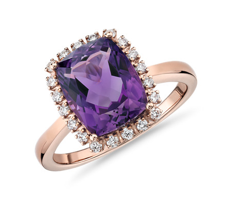 purple birthstone carat rings three ring engagement white gold stone amethyst diamond handmade