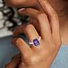 Bague améthyste taille coussin et halo de diamants en or rose 14carats (10x8mm)
