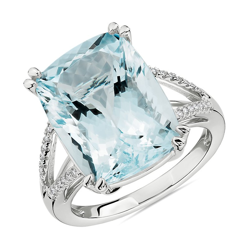 Cushion Cut Aquamarine and Diamond Cocktail Ring in 14k White Gold