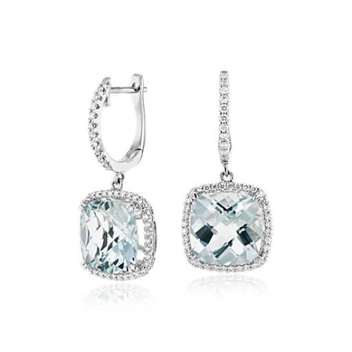 Cushion Cut Aquamarine And Diamond Halo Drop Earrings In 14k White Gold 9mm