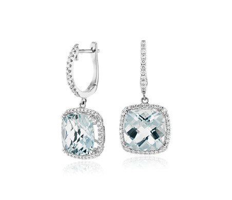 Cushion Cut Aquamarine and Diamond Halo Drop Earrings in 14k White Gold (9mm)