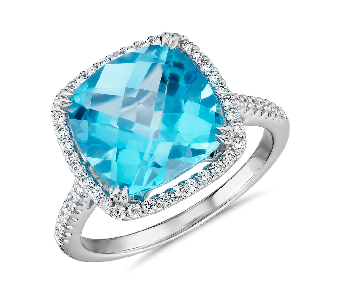 Cushion Cut Swiss Blue Topaz Diamond Halo Cocktail Ring In 14k White Gold 10 5mm Blue Nile