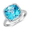 Cushion-Cut Swiss Blue Topaz Diamond Halo Cocktail Ring in 14k White Gold (10.5mm)