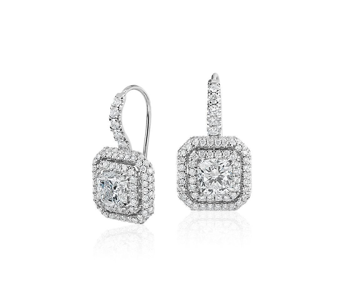 Cushion Cut Diamond Double Halo Drop Earrings in 18k White