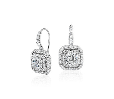 Cushion Cut Diamond Double Halo Drop Earrings In 18k White Gold 2 48 Ct