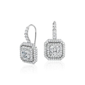 Cushion-Cut Diamond Double Halo Drop Earrings in 18k White Gold (2.48 ct. tw.)