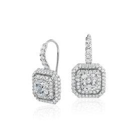 Aretes colgantes con doble halo de diamantes de talla cojín en oro blanco de 18 k (2,48 qt. total)