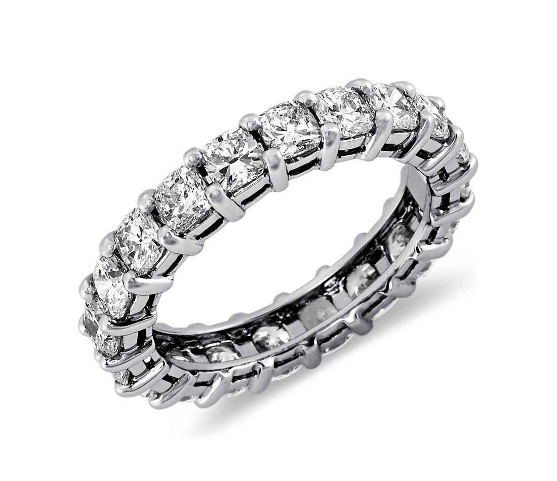 Cushion Cut Diamond Eternity Ring In Platinum 3 Ct Tw