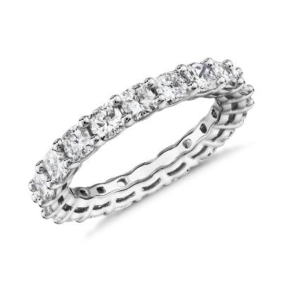 新款 鉑金 墊形切割鑽石永恆戒指 <br>(3.0 克拉總重量)