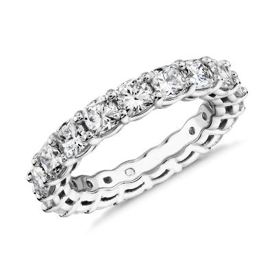 新款 鉑金 墊形切割鑽石永恆戒指 <br>( 3.5 克拉總重量)