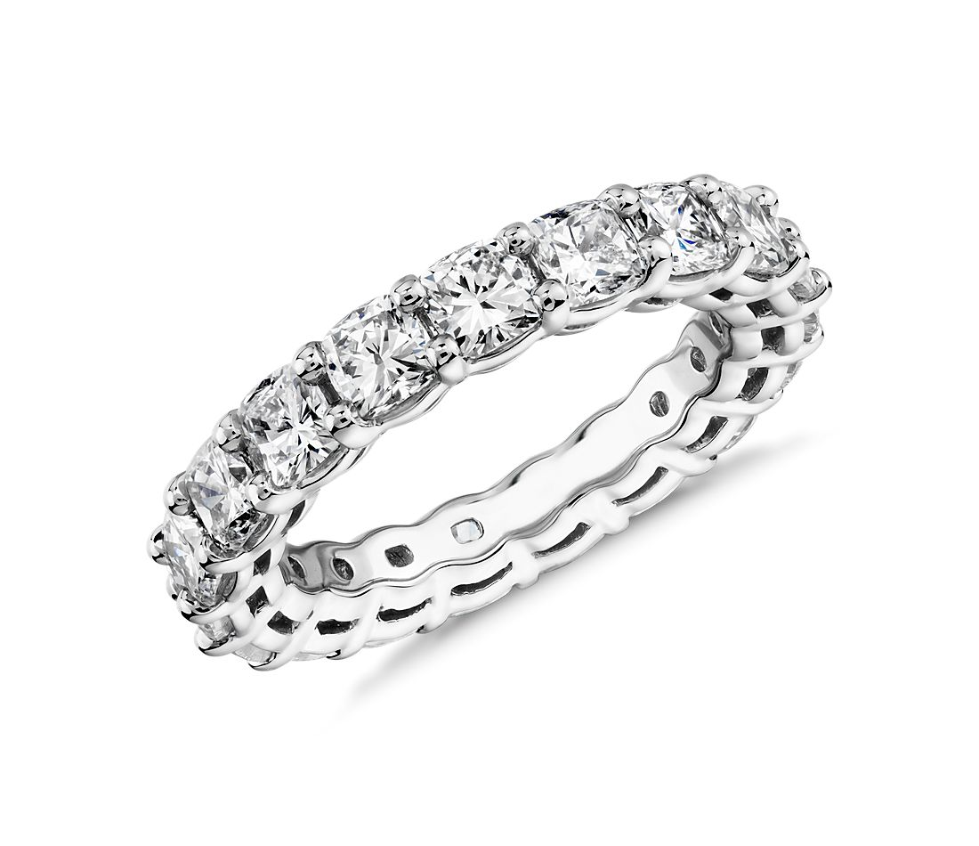 Cushion Cut Diamond Eternity Ring in Platinum (3.5 ct. tw.)