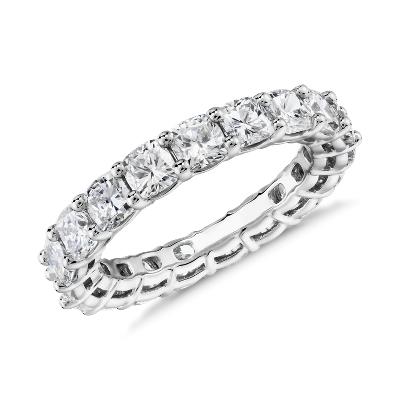 新款 鉑金 墊形切割鑽石永恆戒指 <br>(4.0 克拉總重量)