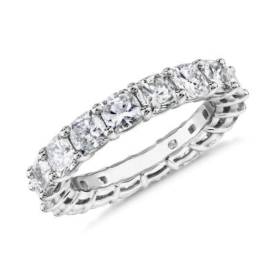 新款 鉑金 墊形切割鑽石永恆戒指 <br>( 4.5 克拉總重量)