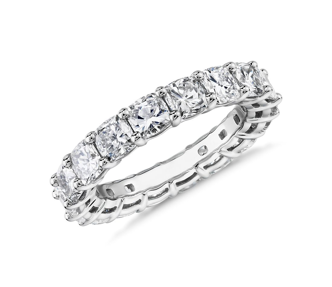 Cushion Cut Diamond Eternity Ring in Platinum (4.5 ct. tw.)