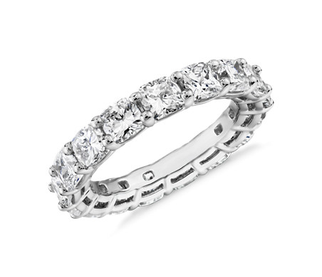 Cushion Cut Diamond Eternity Ring in Platinum (5.0 ct. tw.)