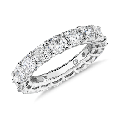 新款 鉑金 墊形切割鑽石永恆戒指 <br>(6.0 克拉總重量)