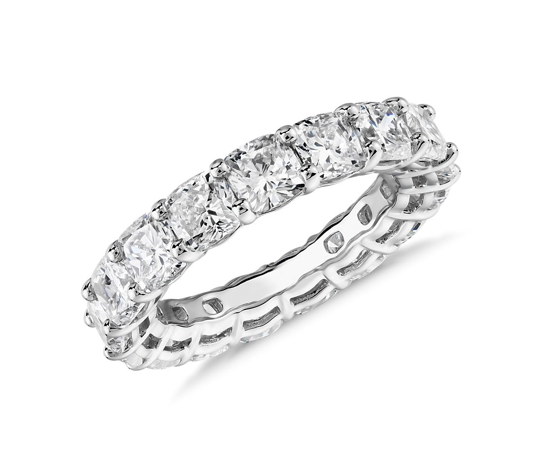 Cushion Cut Diamond Eternity Ring in Platinum (6.0 ct. tw.)