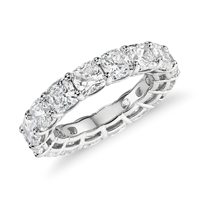 NEW Cushion Cut Diamond Eternity Ring in Platinum (7.0 ct. tw.)