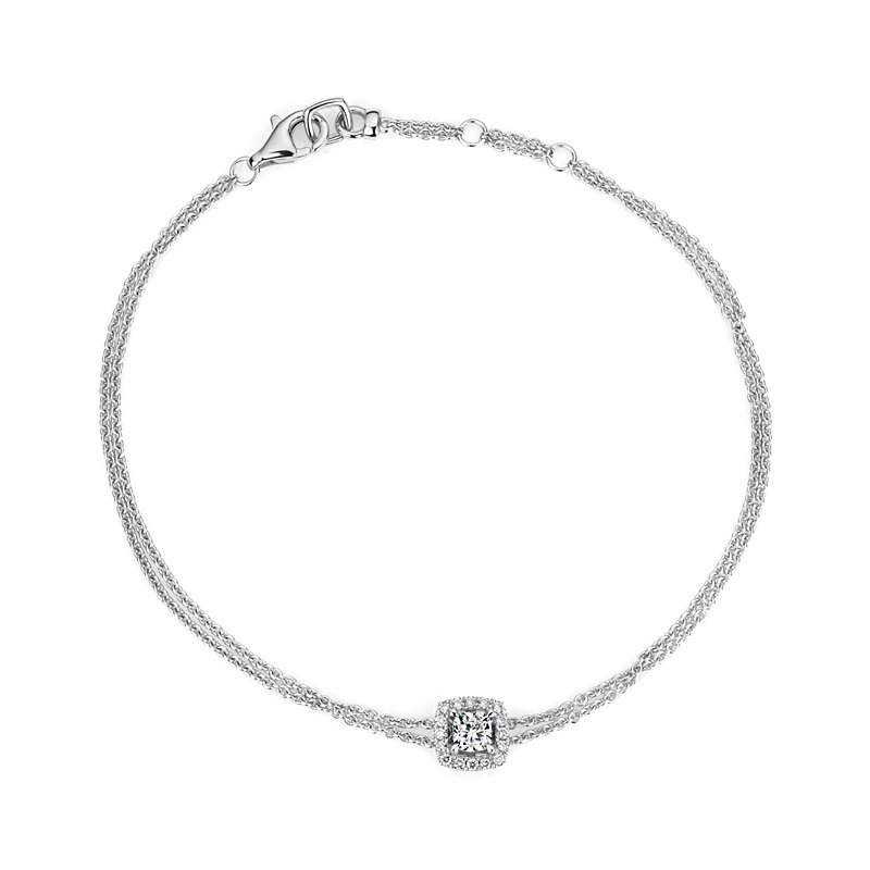 Cushion Cut Diamond Halo Bracelet in 14k White Gold (1/3 ct. tw.)