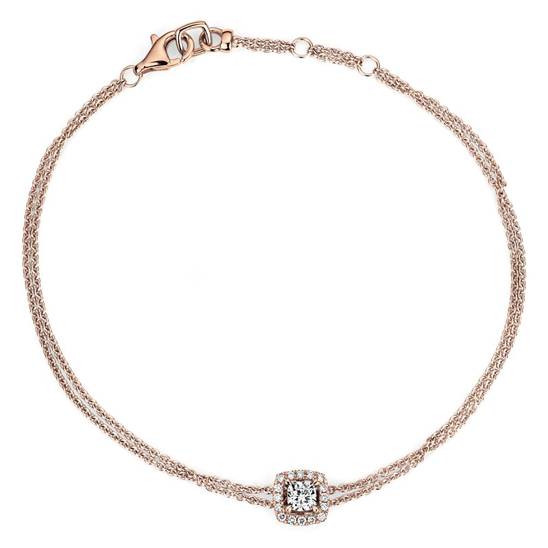Cushion-Cut Diamond Halo Bracelet in 14k Rose Gold (1/3 ct. tw.)