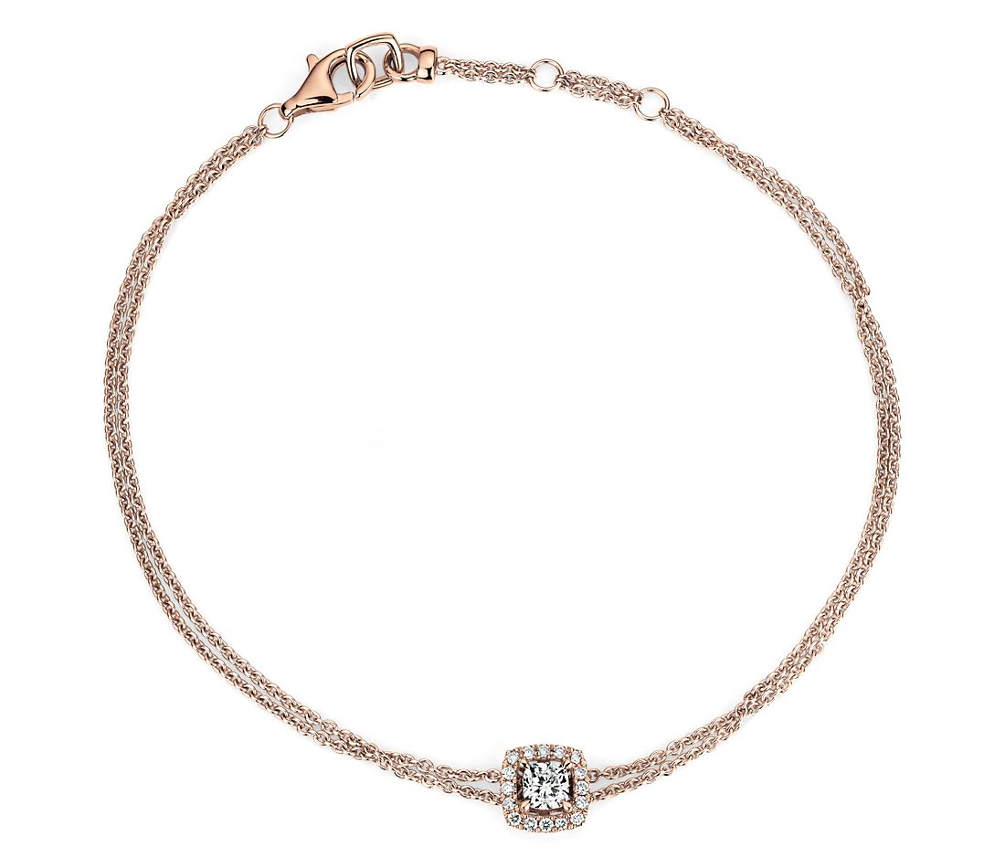 Cushion-Cut Diamond Halo Bracelet in 14k Rose Gold