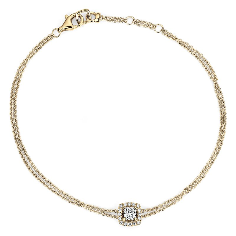 Cushion-Cut Diamond Halo Bracelet in 14k Yellow Gold (1/3 ct. tw.