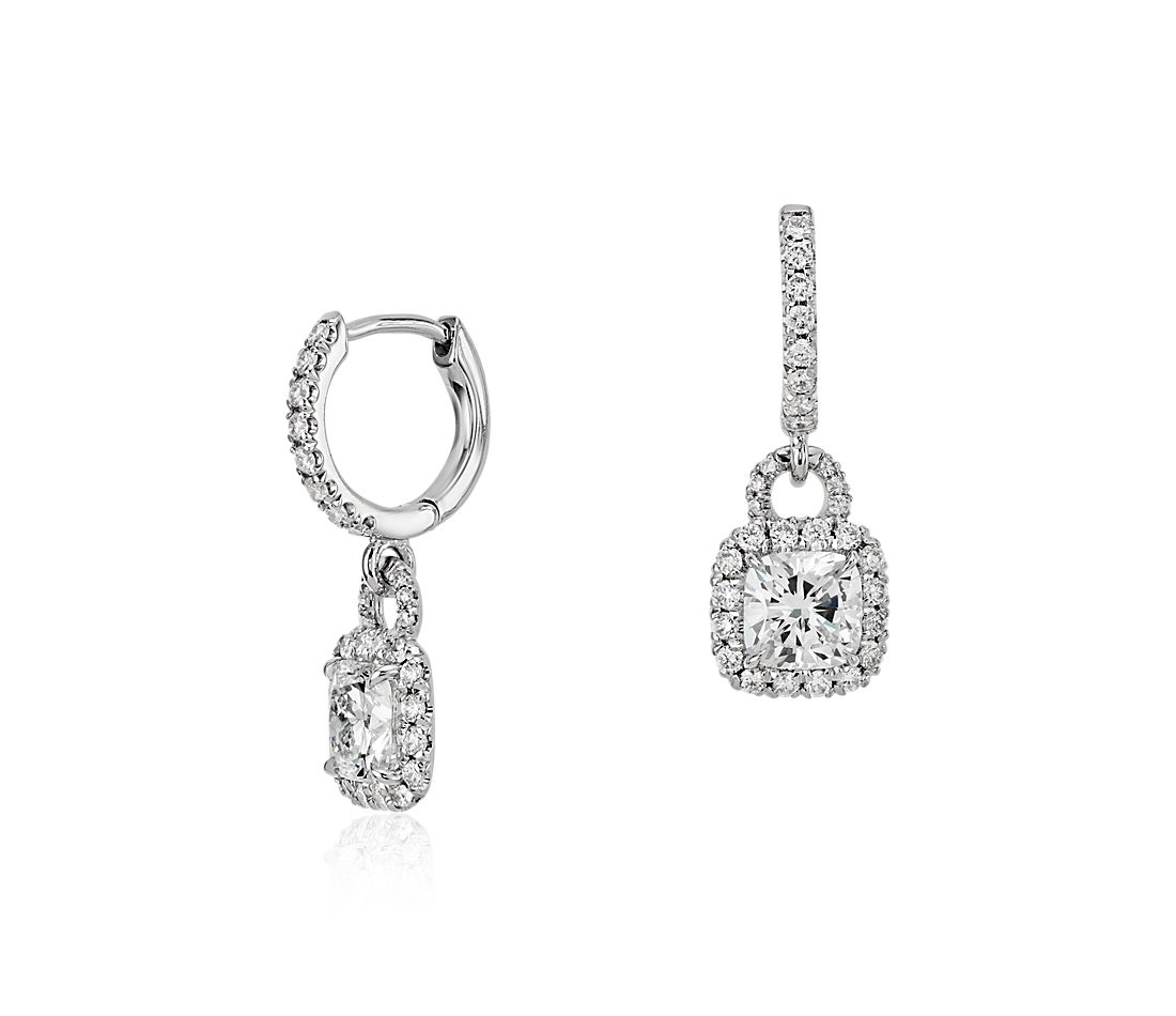 Cushion Cut Diamond Halo Dangle Earrings In 18k White Gold 1 50 Ct Tw
