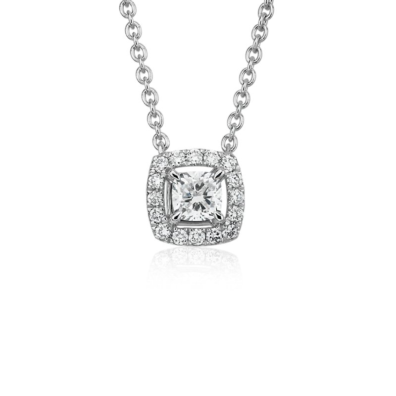 Cushion-Cut Diamond Halo Pendant in 14k White gold (1/4 ct. tw.)