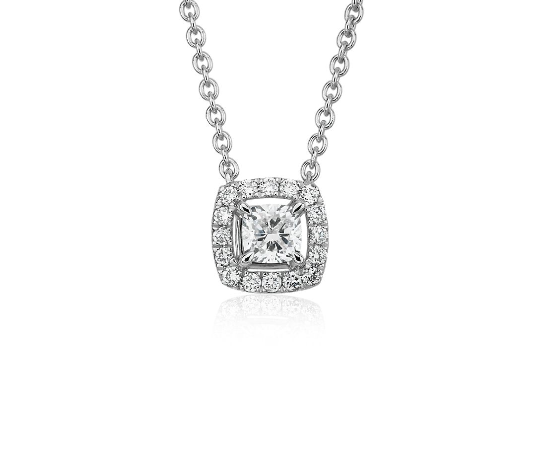 Cushion-Cut Diamond Halo Pendant in 14k White gold (1/4 ct