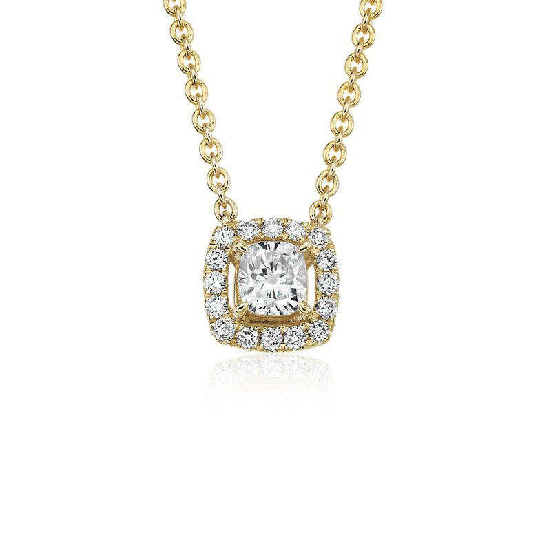 Cushion-Cut Diamond Halo Pendant in 14k yellow gold (1/4 ct. tw.)