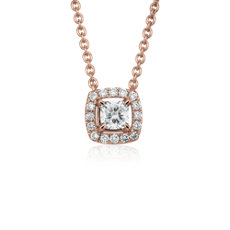 Cushion-Cut Diamond Halo Pendant in 14k Rose Gold