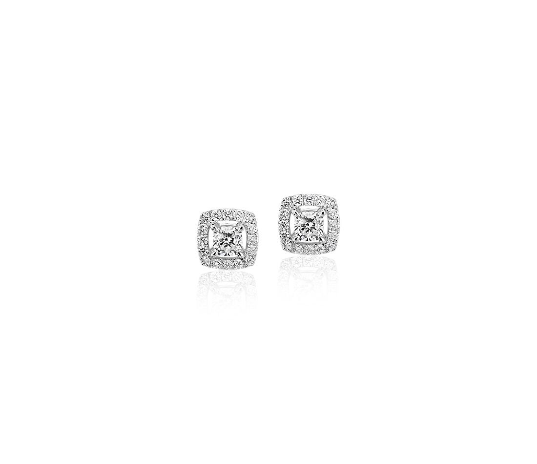 Cushion-Cut Diamond Halo Stud Earrings in 14k White gold (1/3 ct. tw.)