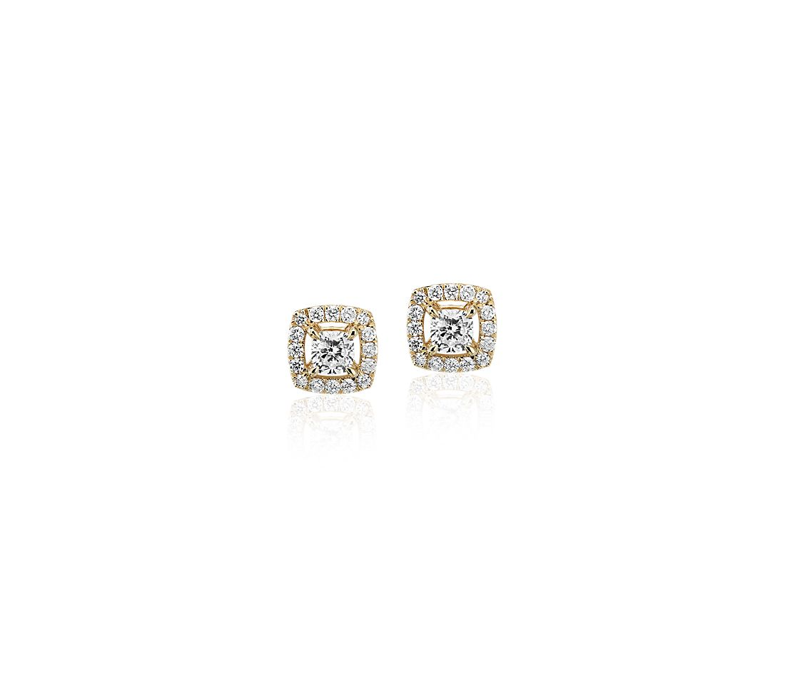 Cushion-Cut Diamond Halo Stud Earrings in 14k yellow gold (1/3 ct. tw.)